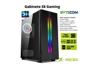 GABINETE X-MICRO S8 S/FUENTE GAMER 2 FANs RGB MID TOWER